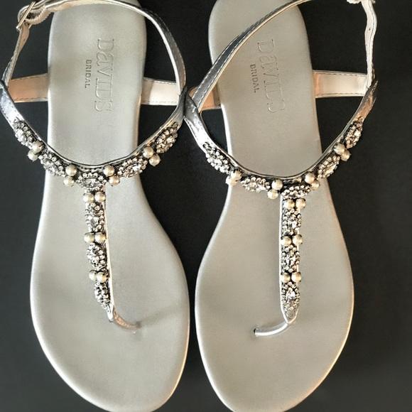 9f804ff0351c David s Bridal Shoes - Silver Rhinestone and Pearl Thong Sandals